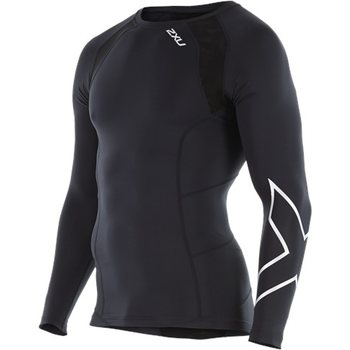 2XU Compression Long Sleeve Top, Black/Silver X, S