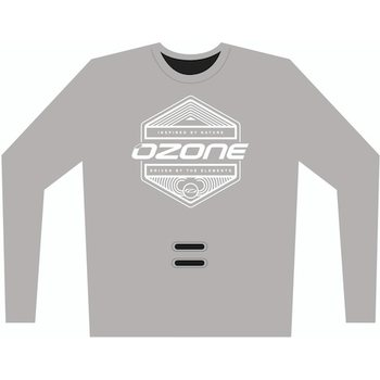 Ozone Tech Long Sleeve Tee Inspired with hook hole, Grey, S