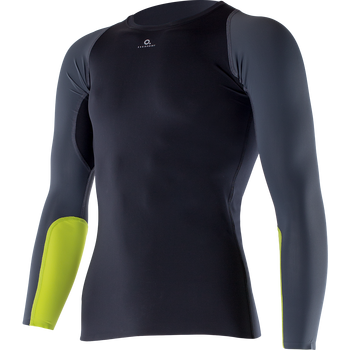 Zero Point M's Athletic LS Top, Black Titanium Chartreuse, S