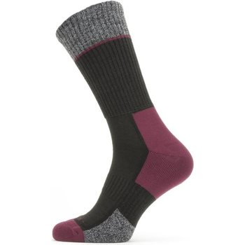 Sealskinz Solo QuickDry Mid Length Sock, Black/Grey/Red, XL