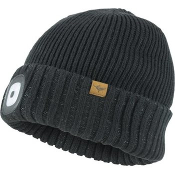 Sealskinz Waterproof Cold Weather LED Roll Cuff Beanie, Black, L/XL