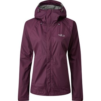 RAB Downpour Jacket Womens, Eggplant, S (UK 10)