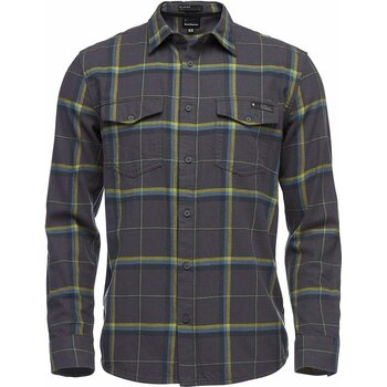 Black Diamond Valley Long Sleeve Flannel Shirt Mens, Carbon/Astral Blue Plaid, S