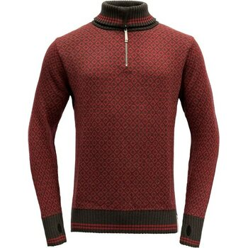 Devold Slogen Zip Neck, Shale/Dark Red, XS