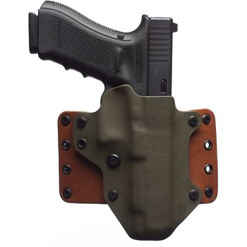 "BlackPoint Tactical Leather Wing Holster, 1.75"" belt loops, Coyote Kydex / Brown Leather, Hudson H9, Right"