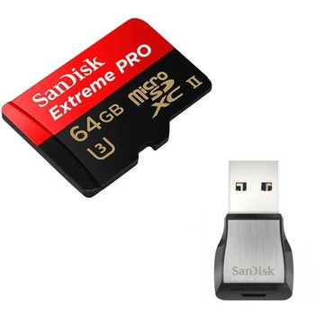 Sandisk Micro SDXC Extreme Pro 64 GB 275MB/s UHS-II U3 Class 10 with USB 3.0 Reader