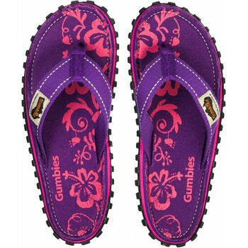 Gumbies Islander Canvas Flip-Flops Purple Hibiscus Women, Purple Hibiscus, 36