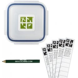 Groundspeak Official X-Small Geocache with Log Strips and Pencil