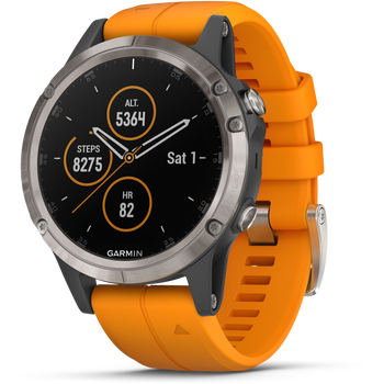 Garmin Fenix 5 Plus Sapphire,Ti w/Spark Orange Band
