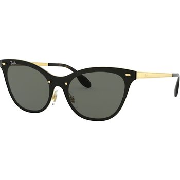 RayBan Blaze Cat Eye Brushed Gold w/ Dark Green, 43 mm