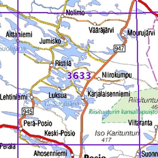 Pera Posio 96 97 Sk Taitettu 3633 Topografinen Kartta Varuste
