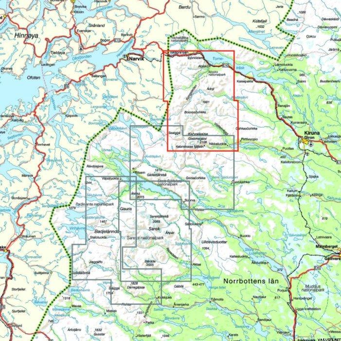 Calazo Kebnekaise Abisko Ja Riksgransen Ruotsin Tunturikartat
