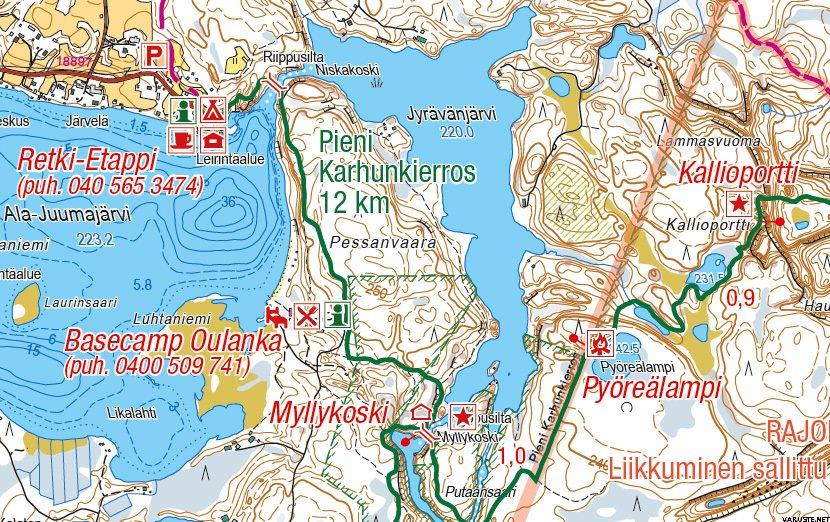 Ruka Oulanka Karhunkierros 1 50 000 Vedenkestava Ulkoilukartta