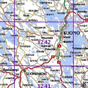 Kuopio 98 99 00 Sk Taitettu 3242 Topografinen Kartta Varuste